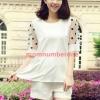 Mix56001White ชุดเซ็ตเสื้อ+กางเกงแขนลายจุด-สีขาว