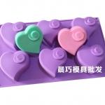 พิมพ์ซิลิโคน พิมพ์สบู่ รูปหัวใจ 6 ช่อง