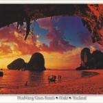 โปสการ์ด หาดถ้ำพระนาง จังหวัดกระบี่ /ทะเล/ชายหาด/พระอาทิตย์ตก