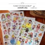 (1 แผ่น/ชุด) สติ๊กเกอร์ เทพนิยาย Alice in Wonderland / Cinderella / Snow White (Latech Korea Sticker)