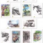 โปสการ์ดภาพวาด ผลงานของศิลปินไทย (1 ชุดมี 14 ใบ 14 แบบ แถมโปสการ์ดภาพเยาวราช)