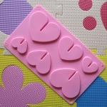 พิมพ์ซิลิโคน รูปหัวใจ 6 ช่อง