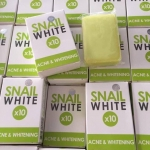 SNAIL WHITE X10 ACNE & WHITENING สบู่ สีเขียว (ลดสิวผิวขาว)