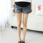 กางเกงยีนส์คนท้องขาสั้น แฟชั่น แต่งซิปด้านข้างทางเว้า