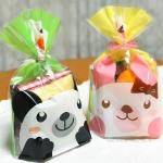 ถุงเบเกอรี่ ถุงขนม รูปหมี สีชมพู 100 ใบ/ห่อ