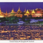 โปสการ์ด พระบรมมหาราชวัง กรุงเทพฯ /แม่น้ำเจ้าพระยา/วิวกลางคืน