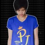 เสื้อยืดคอวี สีน้ำเงิน สกรีน PJ สีเหลือง