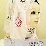 ผ้าฮิญาบ ผ้าคลุม อิสลาม คอตตอน ปักดอก HJ1168