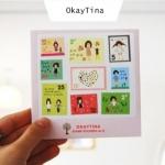(4 แผ่น/ชุด) แสตมป์สติ๊กเกอร์ OkayTina Stamp Sticker Set (ใช้ตกแต่ง ไม่สามารถใช้แทนค่าฝากส่ง)