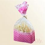 ถุงเบเกอรี่ ถุงขนม รูปหมี สีชมพู 100 ใบ/ห่อ (16*24cm.)