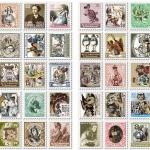 (4 แผ่น/ชุด) แสตมป์สติ๊กเกอร์ Alice in Wonderland Stamp Sticker Set (ใช้ตกแต่ง ไม่สามารถใช้แทนค่าฝากส่ง)