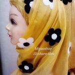 ผ้าคลุม ฮิญาบ ชีฟรอง สีเหลือง ปักดอก HJ1112