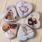 Mini cards การ์ดหัวใจรูปหมี ลายต่างๆ 57 ใบ ในกล่องโลหะ / 57 Heart-Shaped Bear Cards in Tin Box / Greeting Cards / Gift Card