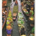 โปสการ์ด ตลาดน้ำ จังหวัดราชบุรี /วิถีชาวบ้าน/วิถีไทย/ชีวิตประจำวัน/อาชีพ/แม่ค้าขายของ