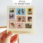 (4 แผ่น/ชุด) แสตมป์สติ๊กเกอร์ Alice in Wonderland Sticker Set (ใช้ตกแต่ง ไม่สามารถใช้แทนค่าฝากส่ง)