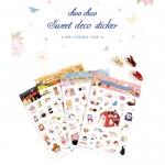 (4 แผ่น/ชุด) สติ๊กเกอร์ Jetoy Choo Choo Sweet Deco Sticker