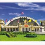 โปสการ์ด สถานีรถไฟหัวลำโพง กรุงเทพฯ /สถานีรถไฟ/การขนส่ง/การเดินทาง/การคมนาคม/ธงชาติ