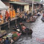 โปสการ์ด ตลาดน้ำดำเนินสะดวก จังหวัดราชบุรี /วิถีชาวบ้าน/วิถีไทย/ชีวิตประจำวัน/ออกบิณฑบาต/อาชีพ/แม่ค้าขายของ
