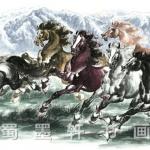ภาพพิมพ์ ลายภาพวาดพู่กันจีน ม้ามงคล8ตัวเล็ก 35*100cm cnn06