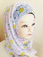 ผ้าฮิญาบ ผ้าคลุม อิสลาม ดอก เดซี่ HJ1173
