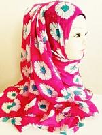 ผ้าฮิญาบ ผ้าคลุม อิสลาม ดอก เดซี่ HJ1170