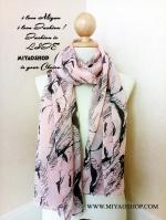 ผ้าพันคอ ชีฟอง Chiffon ผืนใหญ่ ลาย มอนโล Monroe CF01004-1