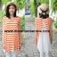 S49014Orange เสื้อคลุมท้องผ้ายืดลายขวางสีส้มด้านหลังอัดพลีส thumbnail 4