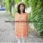 S49014Orange เสื้อคลุมท้องผ้ายืดลายขวางสีส้มด้านหลังอัดพลีส thumbnail 1