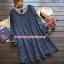 S59013Blue เสื้อคลุมท้องสีน้ำเงินแขนยาวลายสี่เหลี่ยม thumbnail 1