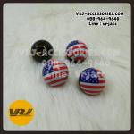 จุกลม ทรงกลม ลายธงชาติอเมริกา : Car tire valve Stem caps – USA