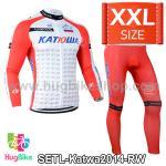 ชุดจักรยานแขนยาวทีม Katwa ปี 2014 สีแดงขาว Size XXL (Pre-order)
