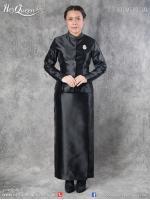 เช่า - ขาย ชุดไทยไว้ทุกข์ &#x2665 ชุดไทยจิตรลดา ไว้อาลัย ผ้าไหมอิตาลีแท้เนื้อเงาทั้งชุด แขนตรง สีดำ