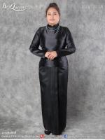 เช่า - ขาย ชุดไทยไว้อาลัย &#x2665 ชุดไทยบรมพิมาน สีดำ ไว้อาลัย ผ้าถุงสำเร็จ หน้านาง งานผ้าไทย (ไซส์ใหญ่)
