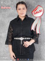 สินค้าขาย &#x2665 เสื้อสีดำ ไซส์ 42 ปกเชิ๊ต ผ้าลูกไม้ แต่งผ้าลินิน