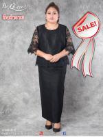 สินค้าขาย &#x2665 ชุดดำ ไว้อาลัย ไซส์ 44 เสื้อคอกลมผ้าไหมแต่งลูกไม้ แขนระบาย พร้อมกระโปรงผ้าไหม
