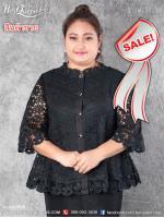 สินค้าขาย &#x2665 เสื้อสีดำ ไซส์ 40 ไว้อาลัย ปกเชิ๊ต ผ้าลูกไม้ แต่งผ้าลินิน