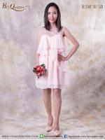 พร้อมส่ง (สินค้าสำหรับขาย) &#x2665 ชุดเดรส ออกงาน ผ้าชีฟองพริ้ว ที่อกปักแต่งเพชรเล็กๆ - สีชมพู