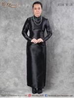 เช่า - ขาย ชุดไทย กราบพระบรมศพ &#x2665 ชุดไทยบรมพิมาน ผ้าถุงสำเร็จ ไหมอิตาลี สีดำ