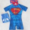 ชุดว่ายน้ำบอดี้สูทลาย Superman สีน้ำเงิน ซิปหน้า พร้อมหมวกและ ถุงผ้า Size : S (4-5y) / L (6-7y)