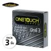 OneTouch Condoms Mixx 3 ถุงยางอนามัย วันทัช มิกซ์ 3 ผิวไม่เรียบ แบบปุ่มและขีด ผนังไม่ขนาน (บรรจุ 3 ชิ้น) - 52 มม.