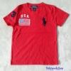 Polo : เสื้อยืด ปักลายธงชาติ USA สีแดง size 4-6y
