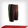 กางเกงรัดกล้ามเนื้อ ขาสั้น สีน้ำตาลดำ-แถบเขียว