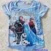 H&M : เสื้อยืดพิมพ์ลาย Frozen สีฟ้า ปักเลื่อม ช่วงอก (งานช้อป) size : 1-2y / 8-10y