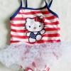 Hello Kitty : ชุดว่ายน้ำ คิตตี้ สีแดงลายขวาง size : 18m