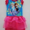 Disney : ชุดเดรสพิมพ์ลาย Frozen สีชมพู เนื้อผ้ากึ่งมัน ระบายผ้าแก้ว size : 8 (8-9y)
