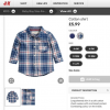 H&M : เสื้อเชิ๊ตแขนยาวลายทางสีน้ำเงิน แปะศอก ผ้า cotton เนื้อนิ่ม size 6-9m