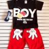 Aime'e : Set เสื้อ+กางเกง BOY สีน้ำตาล-แดง size : 1y