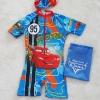 ชุดว่ายน้ำบอดี้สูทลาย Mcqueen สีฟ้า ซิปหน้า พร้อมหมวกและ ถุงผ้า Size : XS (3-4y)