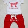 Aime'e : set เสื้อ+กางเกง ลาย Dollars สีขาว+แดง size 2T