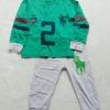 POLO : Set เสื้อแขนยาว+กางเกงขายาว สีเขียว-เทา สกรีนม้าโปโล เลข 2 ตัวโต size 8y